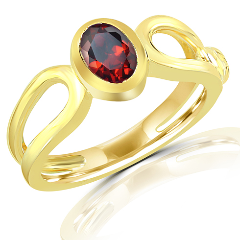 Gold Plated Sterling Silver 7 9 Ct Garnet Ring Gr19744gt