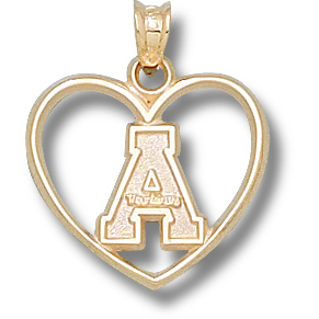 10kt Yellow Gold 3/4in Appalachian State Heart Pendant