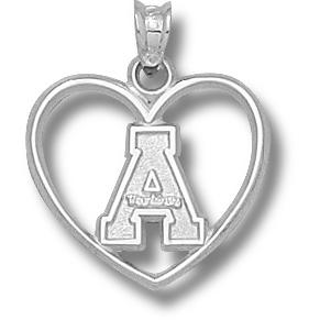 Sterling Silver 3/4in Appalachian State Heart Pendant