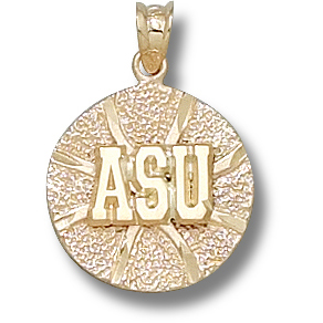 14kt Yellow Gold 5/8in Appalachian State Basketball Pendant
