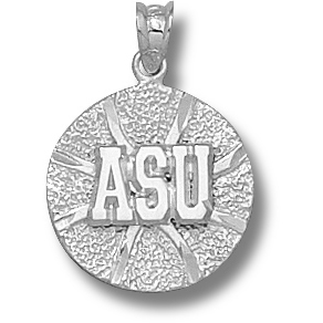 Sterling Silver 5/8in Appalachian State Basketball Pendant