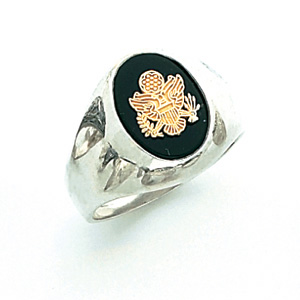 Sterling Silver U.S. Army Ring with Black Onyx