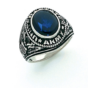 Sterling Silver U.S. Army Ring with Blue Stone