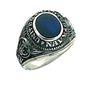 Sterling Silver Antiqued U.S. Navy Ring with Blue Stone