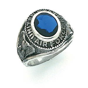 Sterling Silver Antiqued U.S. Air Force Ring with Blue Stone