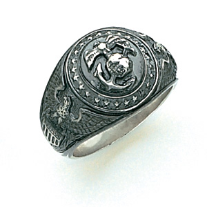 Sterling Silver Antiqued U.S. Marine Corps Insignia Ring