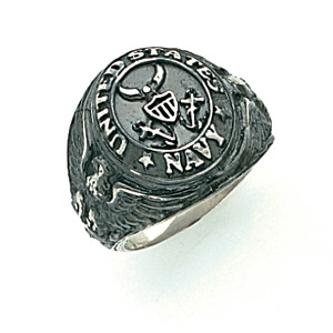 Sterling Silver Antiqued U.S. Navy Signet Ring