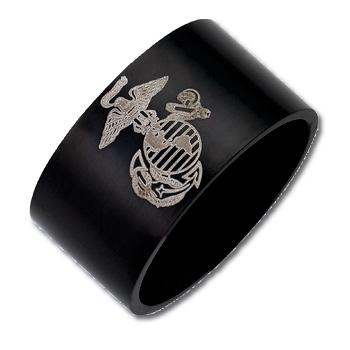 Stainless Steel 12mm Black Flat U.S. Marine Corps Ring