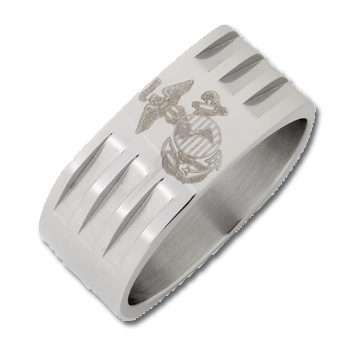 Stainless Steel 8mm Bright Finish USMC Ring