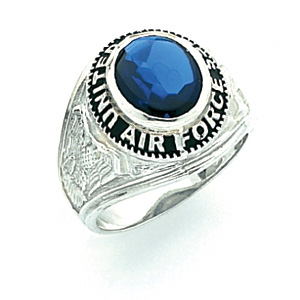 Sterling Silver U.S. Air Force Ring with Blue Stone