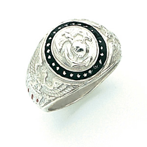 Sterling Silver U.S. Marine Corps Insignia Ring