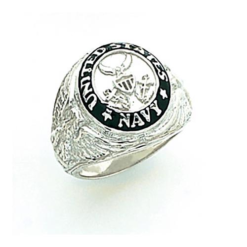 Sterling Silver U.S. Navy Signet Ring with Black Enamel