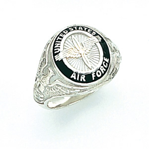 Sterling Silver U.S. Air Force Signet Ring with Black Enamel