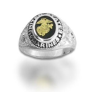 Sterling Silver United States Marines Ring with Black Onyx