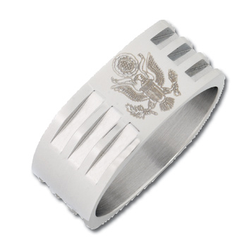 8mm Bright Finish Stainless Steel Army Ring