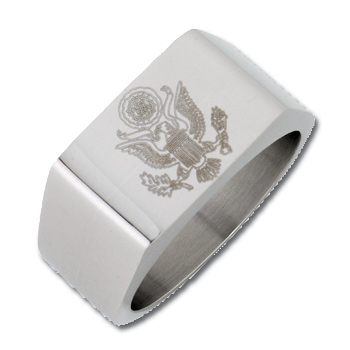 10mm Bright Finish Stainless Steel Army Ring