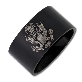 Stainless Steel 12mm Flat Army Ring