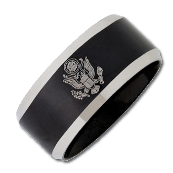 Stainless Steel 12mm Two-Tone Army Ring