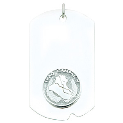 2in Iraq Campaign Dog Tag - Sterling Silver