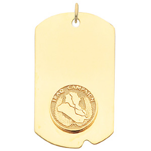 2in Iraq Campaign Dog Tag - Yellow Gold Plated