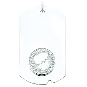 2in Afghanistan Campaign Dog Tag - Sterling Silver