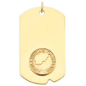 2in Afghanistan Campaign Dog Tag - Yellow Gold Plated