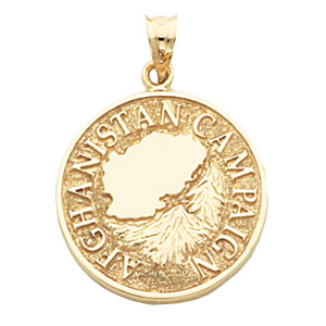 7/8in Afghanistan Campaign Medal - Yellow Gold Plated