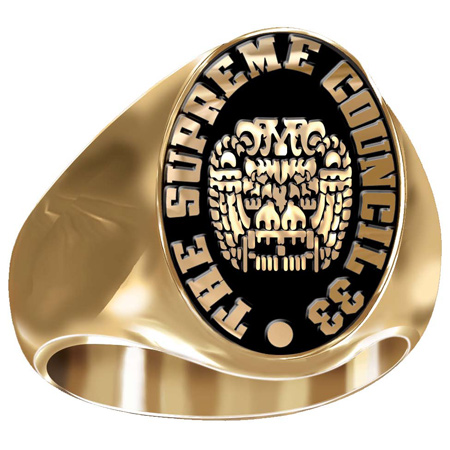 Artisan 2 Headed Eagle Masonic Ring 10kt Yellow Gold