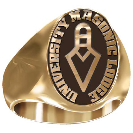 Artisan Masonic Signet Ring with Trowel 14kt Yellow Gold
