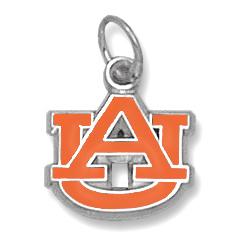 Auburn Tigers 3/8in Sterling Silver Enamel AU Pendant