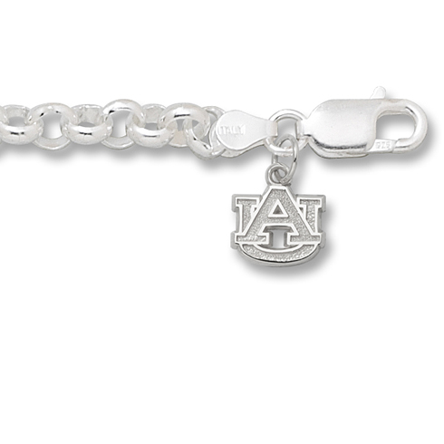 Auburn University 3/8in Logo on Rollo Bracelet Sterling Silver
