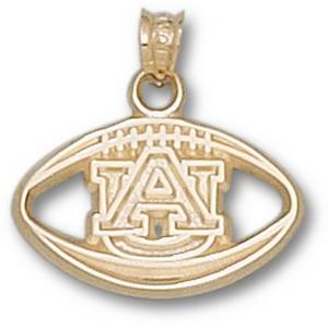 14kt Yellow Gold 1/2in Auburn University Football Pendant