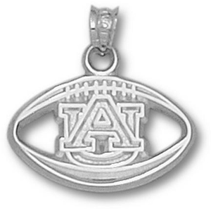 Sterling Silver 1/2in Auburn Tigers Football Pendant