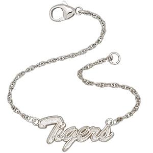 Sterling Silver 7in Auburn Tigers Script Bracelet