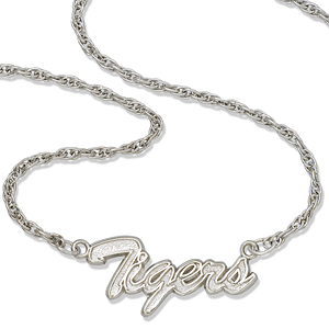 Auburn University Tigers 18in Sterling Silver Script Necklace