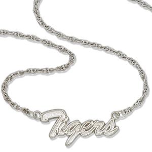 Auburn University Tigers 18in Sterling Silver Script Necklace