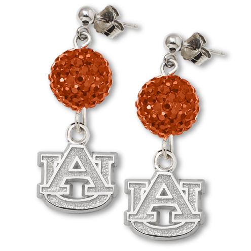 Sterling Silver Auburn University Crystal Ovation Earrings