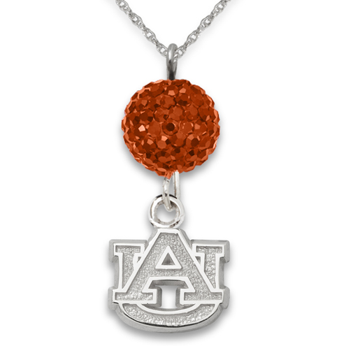 Sterling Silver Auburn University Crystal Ovation Necklace