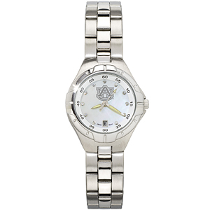 Auburn University Ladies Stainless Pro II Pearl Dial Watch