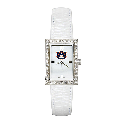 Auburn University Ladies Allure Watch White Leather Strap