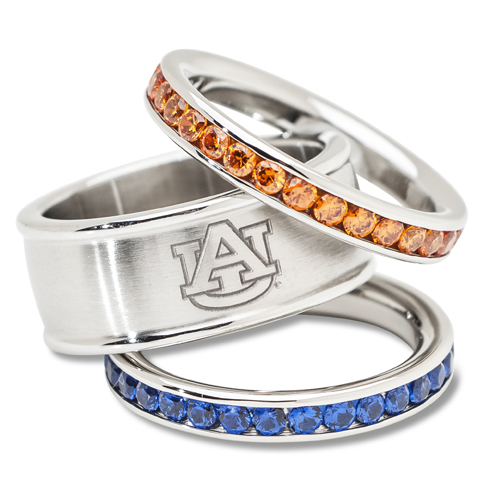 Auburn University Crystal Stacked Ring Set
