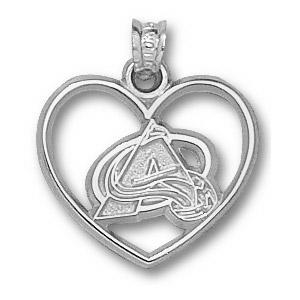 Colorado Avalanche 5/8in Sterling Silver Heart Pendant