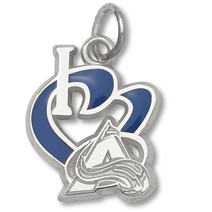 Sterling Silver 1/2in I Love the Avalanche Enamel Pendant