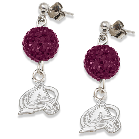 Sterling Silver Colorado Avalanche Crystal Ovation Earrings