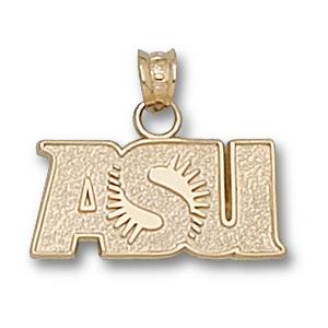 10kt Yellow Gold 3/8in ASU Sunburst Charm
