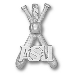Arizona State 7/8in Sterling Silver Bats Pendant
