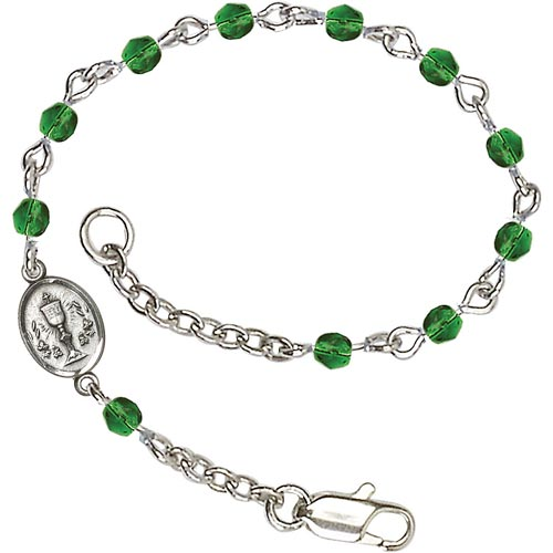 Silver-plated Brass Kids' First Communion Emerald Crystal Bracelet