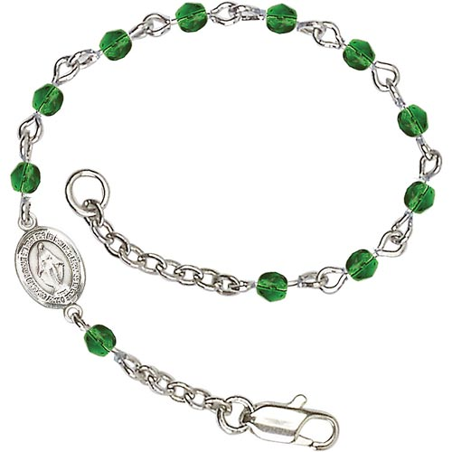 Silver-plated Brass Kids' Miraculous Medal Emerald Crystal Bracelet