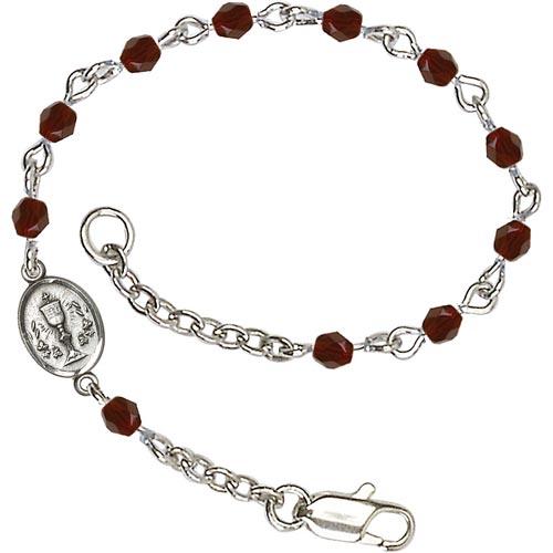 Silver-plated Brass Kids' First Communion Garnet Crystal Bracelet