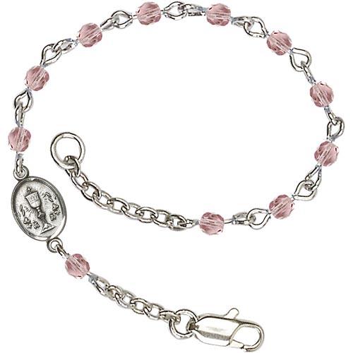 Brass Kids' First Communion Light Amethyst Crystal Bracelet